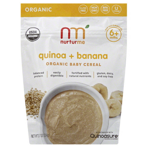 NurturMe 6+ Mths Quinoa + Banana Organic Baby Cereal, 3.7 Oz (Pack of 6)