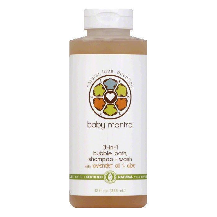Baby Mantra Shampoo & Wash Bubble Bath 3-in-1, 12 OZ