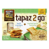 Mediterranean Snacks Sea Salt Lentil Crackers + Roasted Garlic Hummus Tapaz 2 Go, 3.6 Oz (Pack of 6)