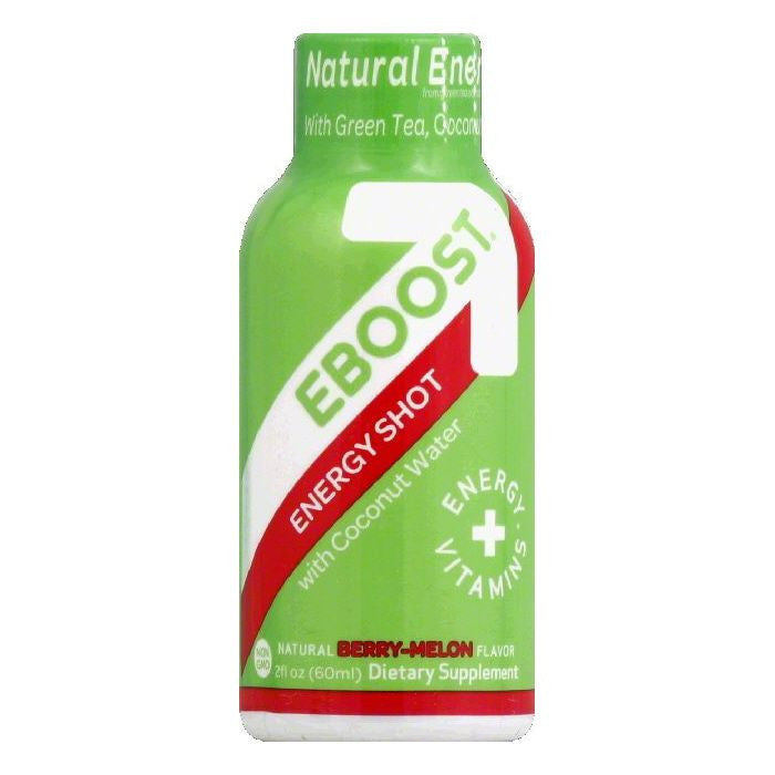 E Boost Natural Berry-Melon Flavor with Coconut Water Energy Shot, 2 OZ (Pack of 12)