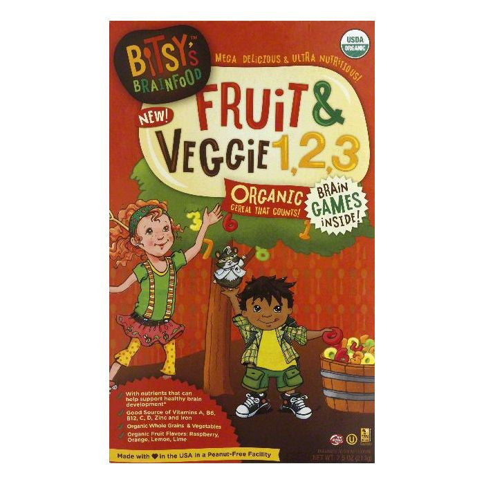 Bitsys Brainfood 3 2 Fruit & Veggie 1 Cereal, 7.5 OZ  ( Pack of  6)