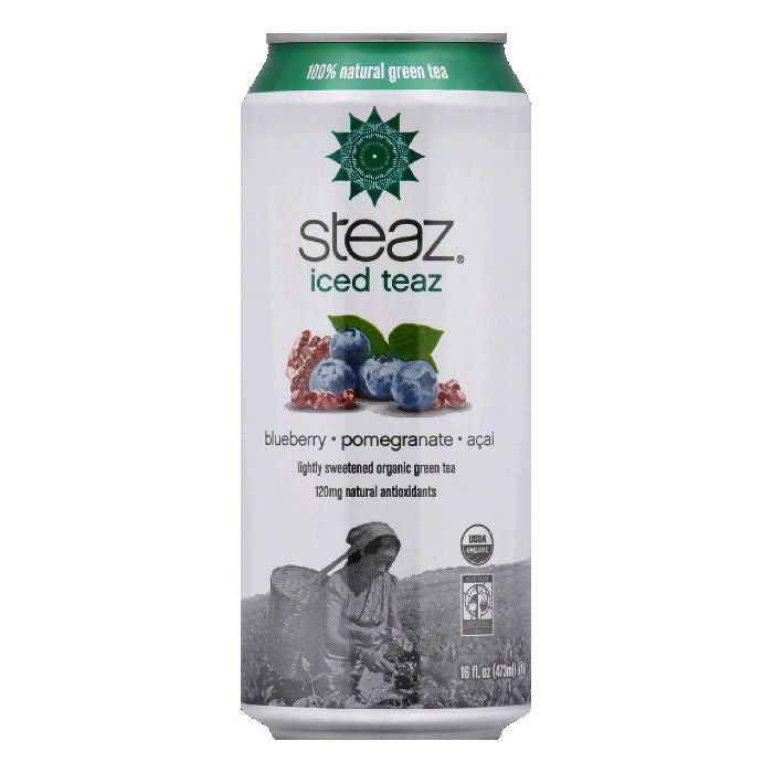 Steaz Gluten Free Green Blueberry Pomegranate Iced Tea Can, 16 FO (Pack of 12)
