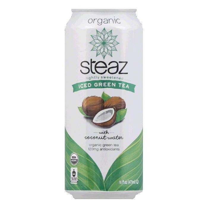 Steaz Organic with Coconut Water Iced Green Tea, 16 FO (Pack of 12)