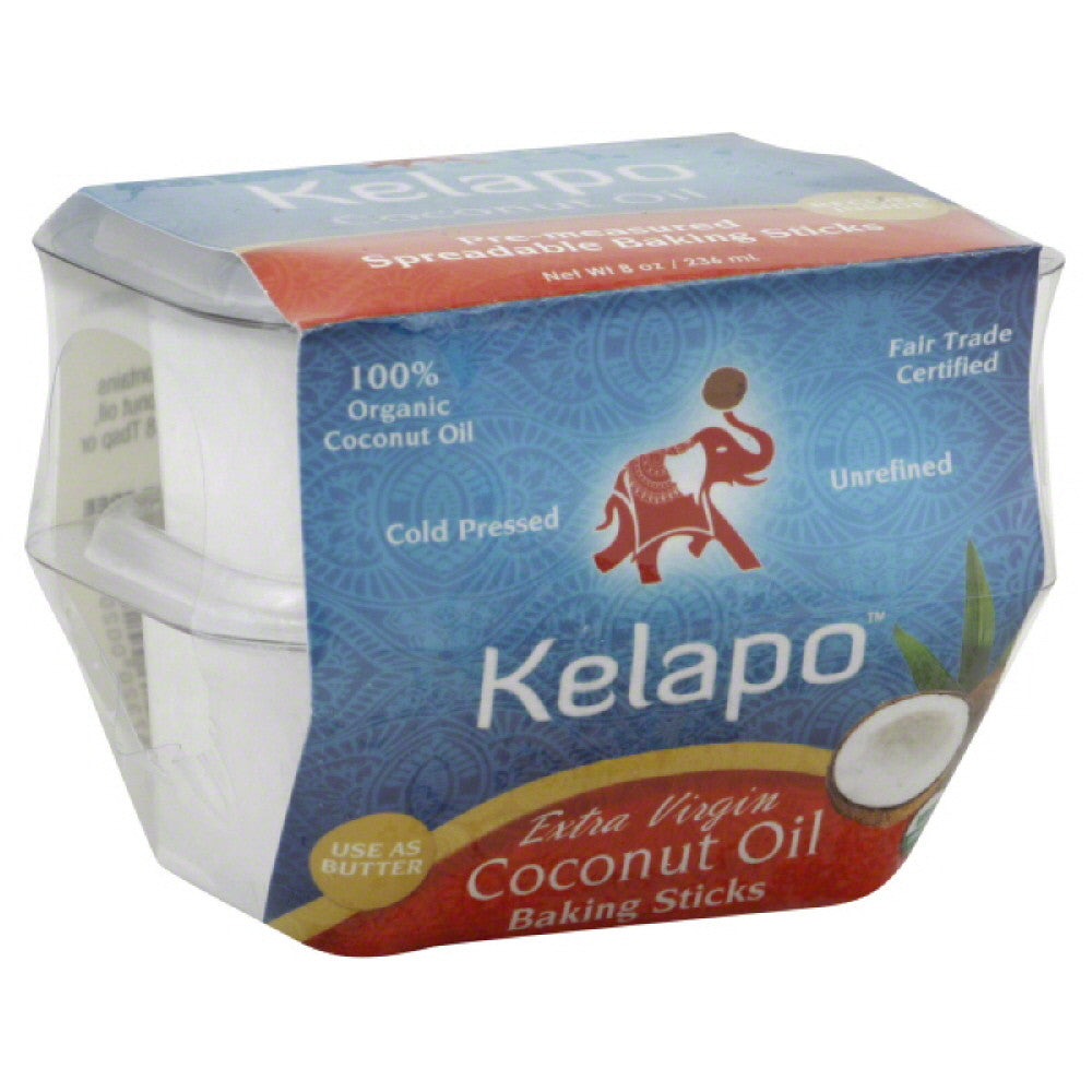 Kelapo Pre-Measured Spreadable Baking Sticks Extra Virgin Coconut Oil, 8 Fo (Pack of 6)