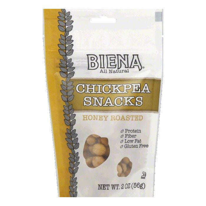Biena Honey Roasted Chickpea Snacks, 2 OZ (Pack of 12)