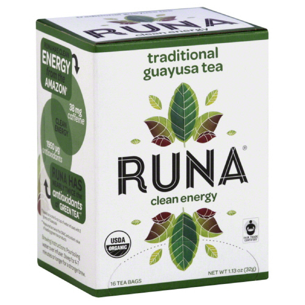 Runa Guayusa Traditional Clean Energy Tea Bags, 16 Bg (Pack of 6)