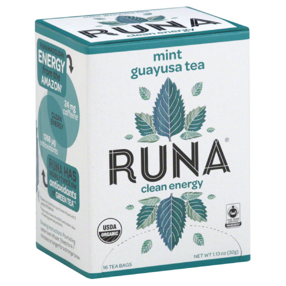Runa Guayusa Mint Clean Energy Tea Bags, 16 Bg (Pack of 6)