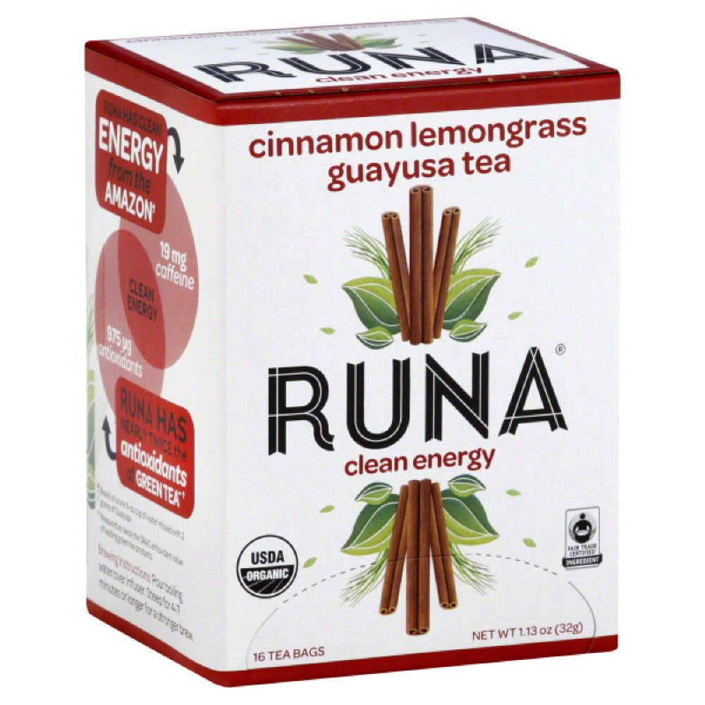 Runa Guayusa Cinnamon Lemongrass Clean Energy Tea Bags, 16 Bg (Pack of 6)