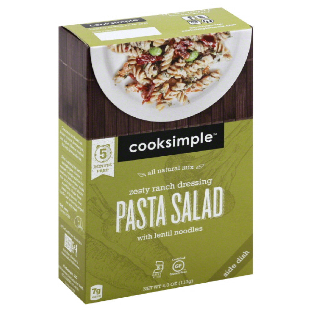 Cooksimple Zesty Ranch Dressing with Lentil Noodles Pasta Salad, 4 Oz (Pack of 6)