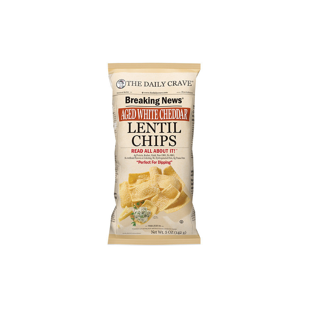 The Daily Crave Aged White Cheddar Lentil Chip, 5OZ (Pack of 8)