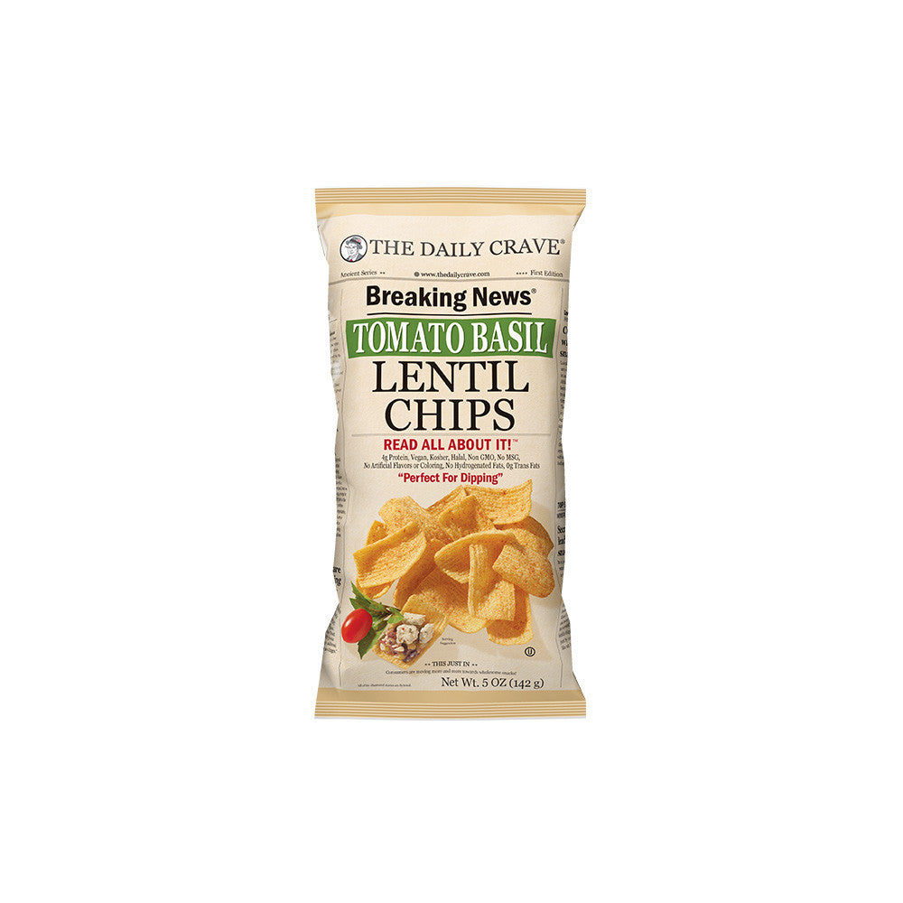 The Daily Crave Tomato Basil Lentil Chip, 5OZ (Pack of 8)