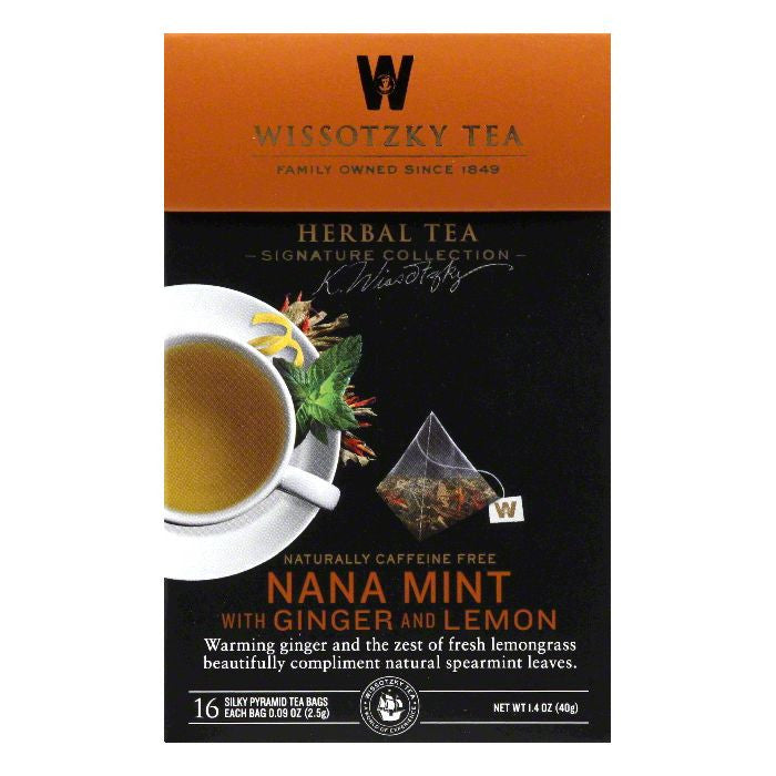 Wissotzky Tea Nana Mint with Ginger and Lemon Caffeine Free Herbal Tea Bags, 16 BG (Pack of 6)
