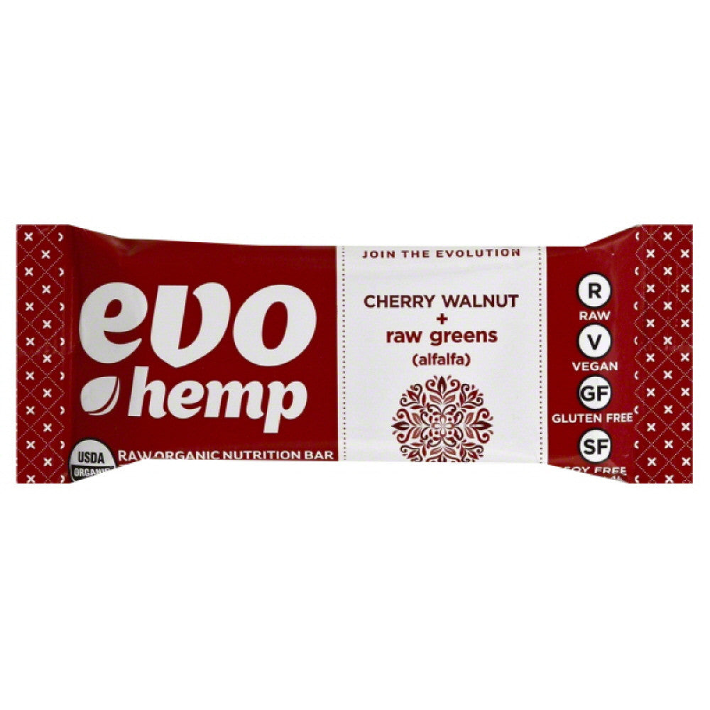 Evo Hemp Cherry Walnut + Raw Greens (Alfalfa) Raw Organic Nutrition Bar, 1.69 Oz (Pack of 12)