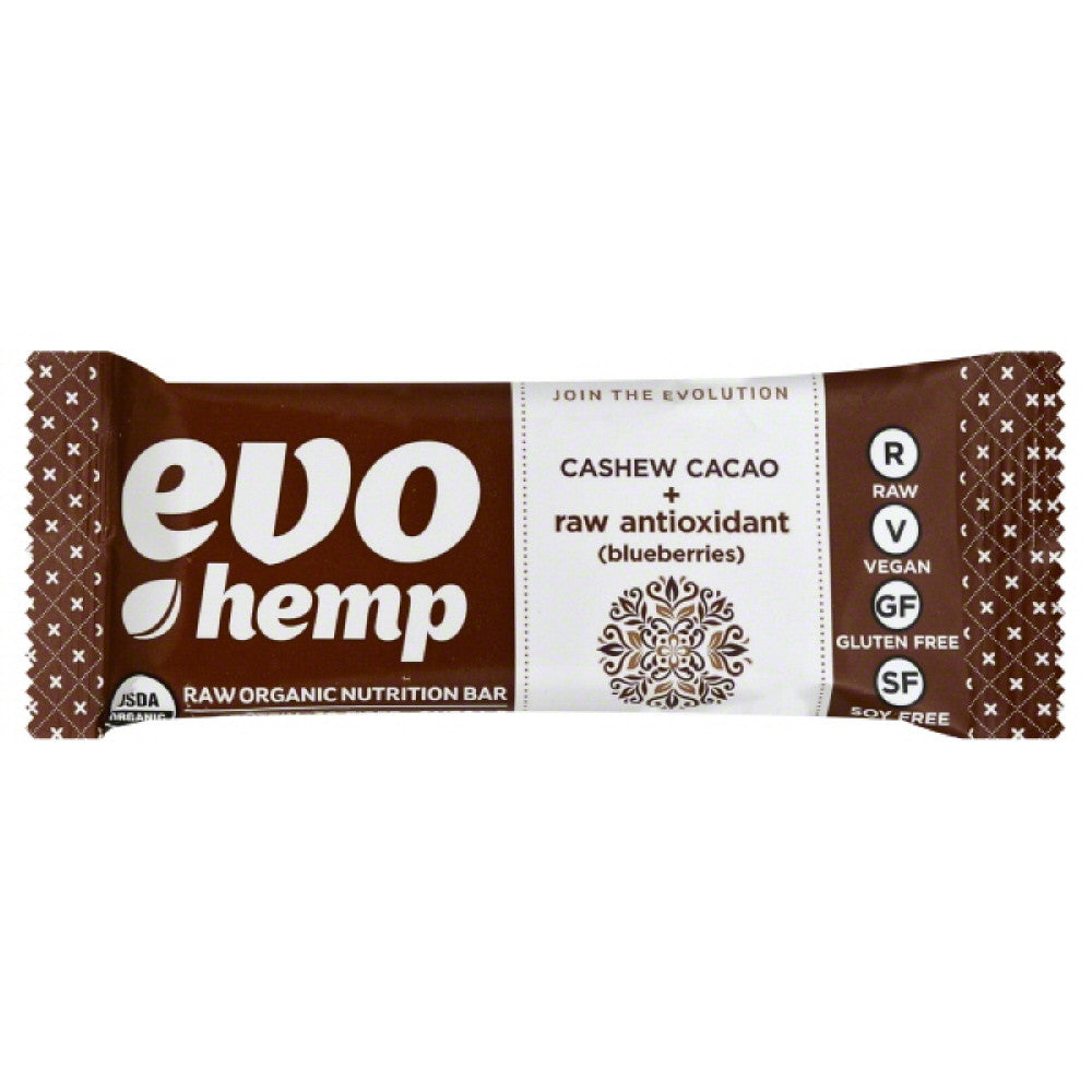 Evo Hemp Cashew Cacao + Raw Antioxidant (Blueberries) Raw Organic Nutrition Bar, 1.69 Oz (Pack of 12)