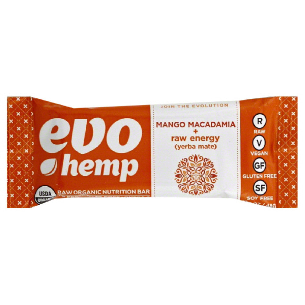 Evo Hemp Mango Macadamia + Raw Energy (Yerba Mate) Raw Organic Nutrition Bar, 1.69 Oz (Pack of 12)