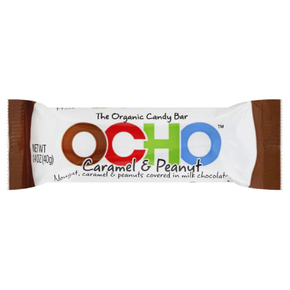 Ocho Organic Caramel & Peanut Candy Bar, 1.4 Oz (Pack of 12)