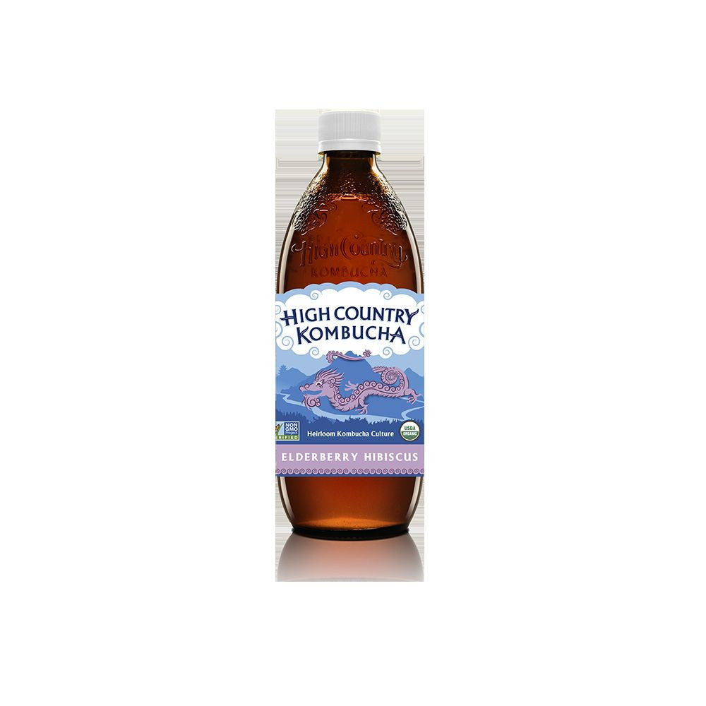 High Country Kombucha Elderberry Hibiscus Kombucha, 16 Oz (Pack of 12)