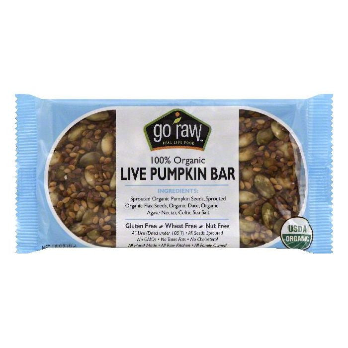 Go Raw 100% Organic Live Pumpkin Bar, 1.8 OZ (Pack of 20)