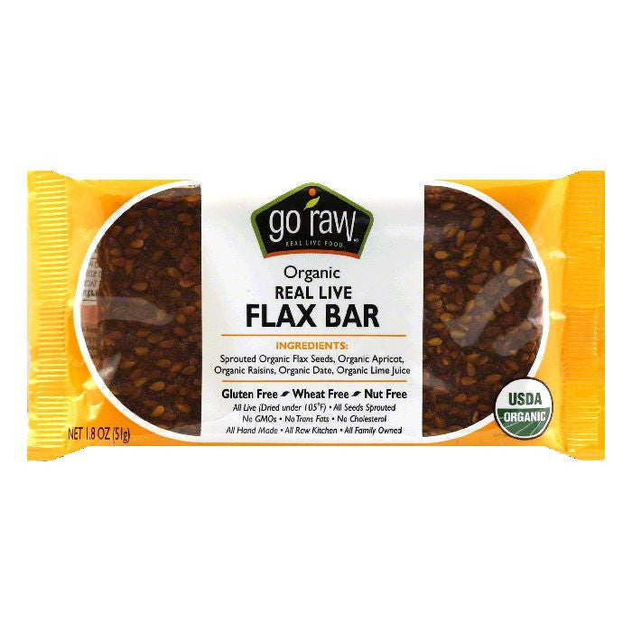 Go Raw Organic Live Flax Bar, 1.8 OZ (Pack of 30)