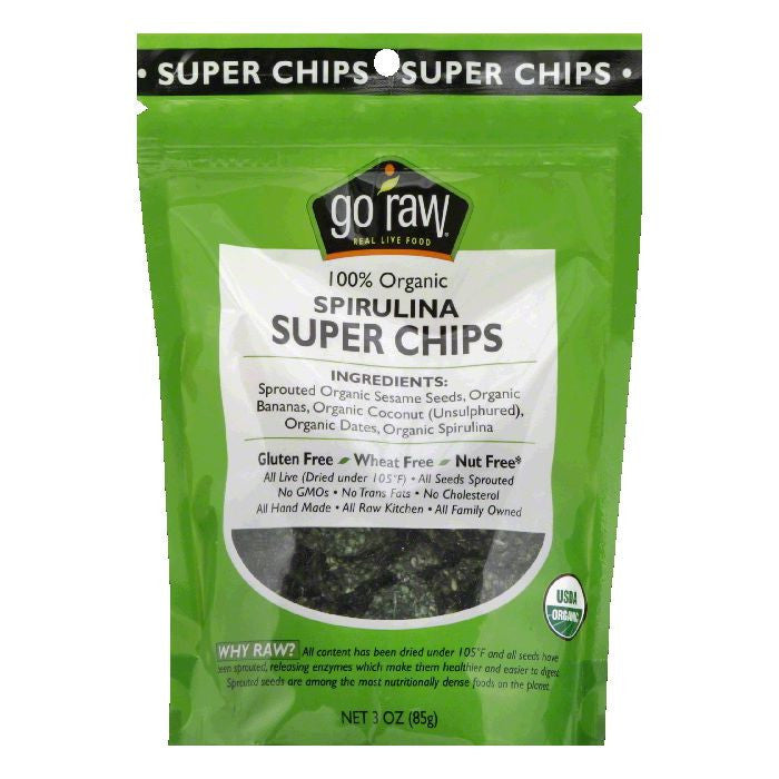 Go Raw Spirulina Organic Super Chips, 3 Oz (Pack of 12)