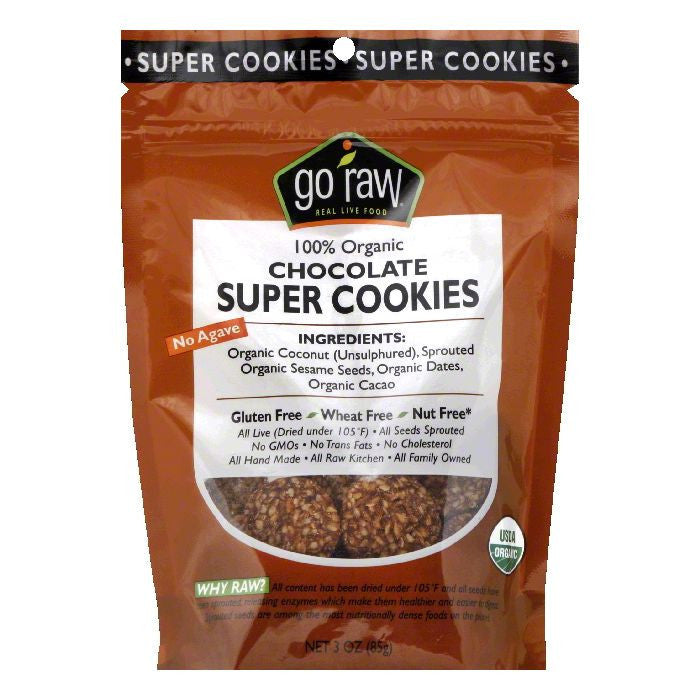 Go Raw Chocolate Organic Super Cookies, 3 Oz (Pack of 12)