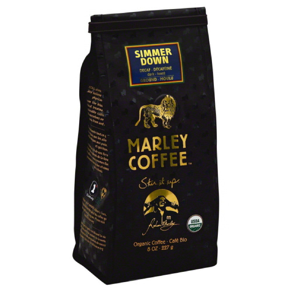 Marley Coffee Decaf Simmer down Ground Organic Coffee, 8 Oz (Pack of 8)