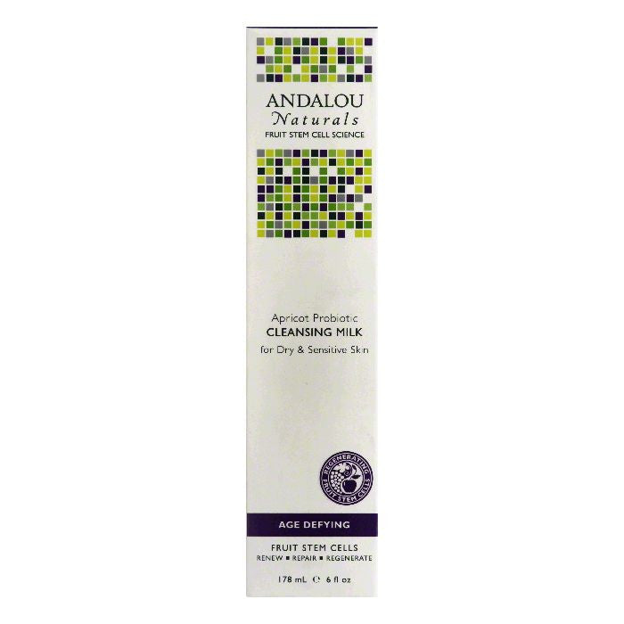 Andalou Naturals Apricot Probiotic for Dry & Sensitive Skin Age Defying Cleansing Milk, 6 Oz