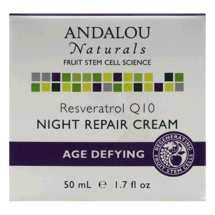 Andalou Naturals Resveratrol Q10 Age Defying Night Repair Cream, 1.7 Oz