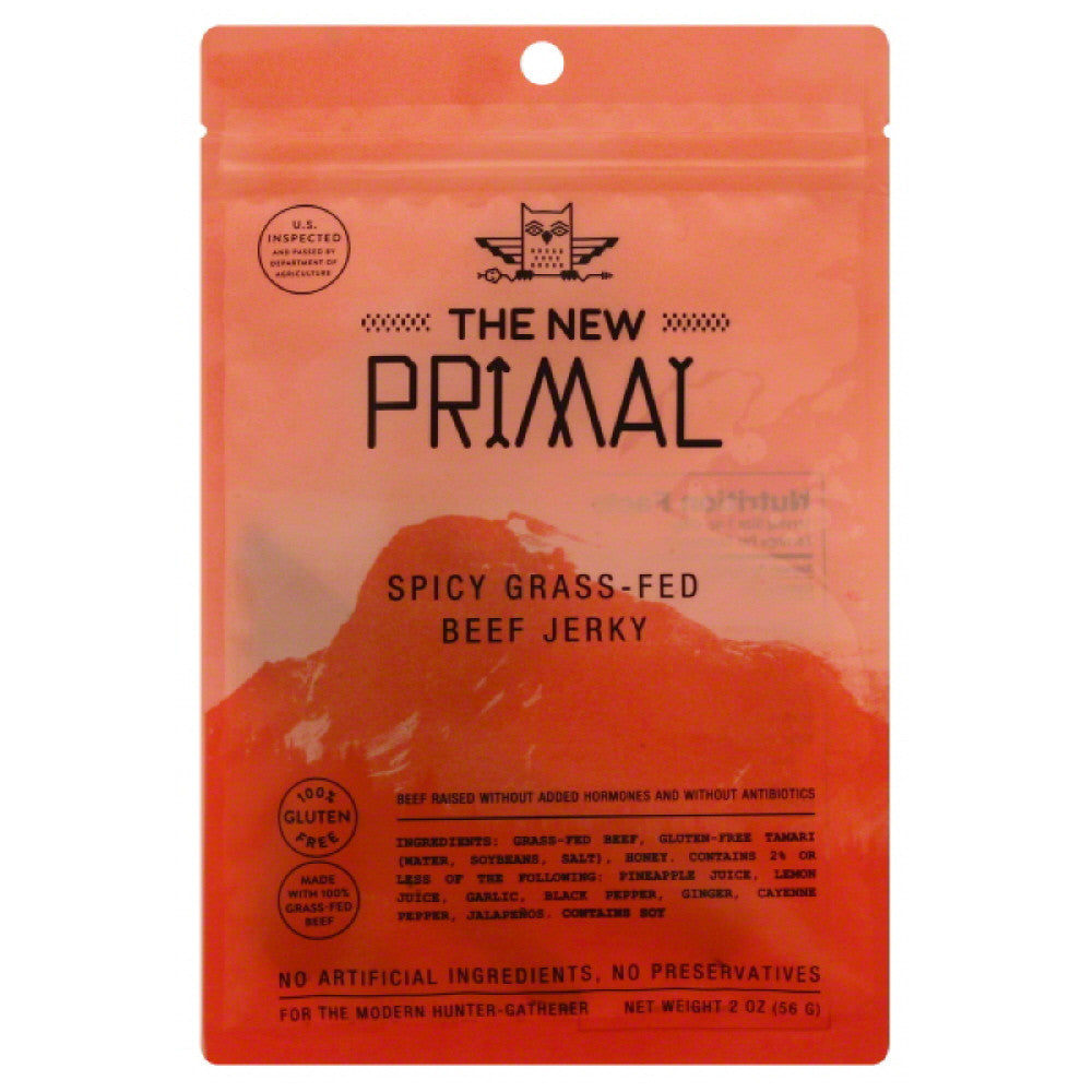 New Primal Spicy Grass-Fed Beef Jerky, 2 Oz (Pack of 8)