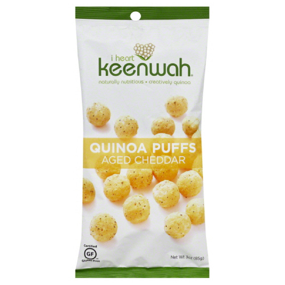 I Heart Keenwah Aged Cheddar Quinoa Puffs, 3 Oz (Pack of 12)
