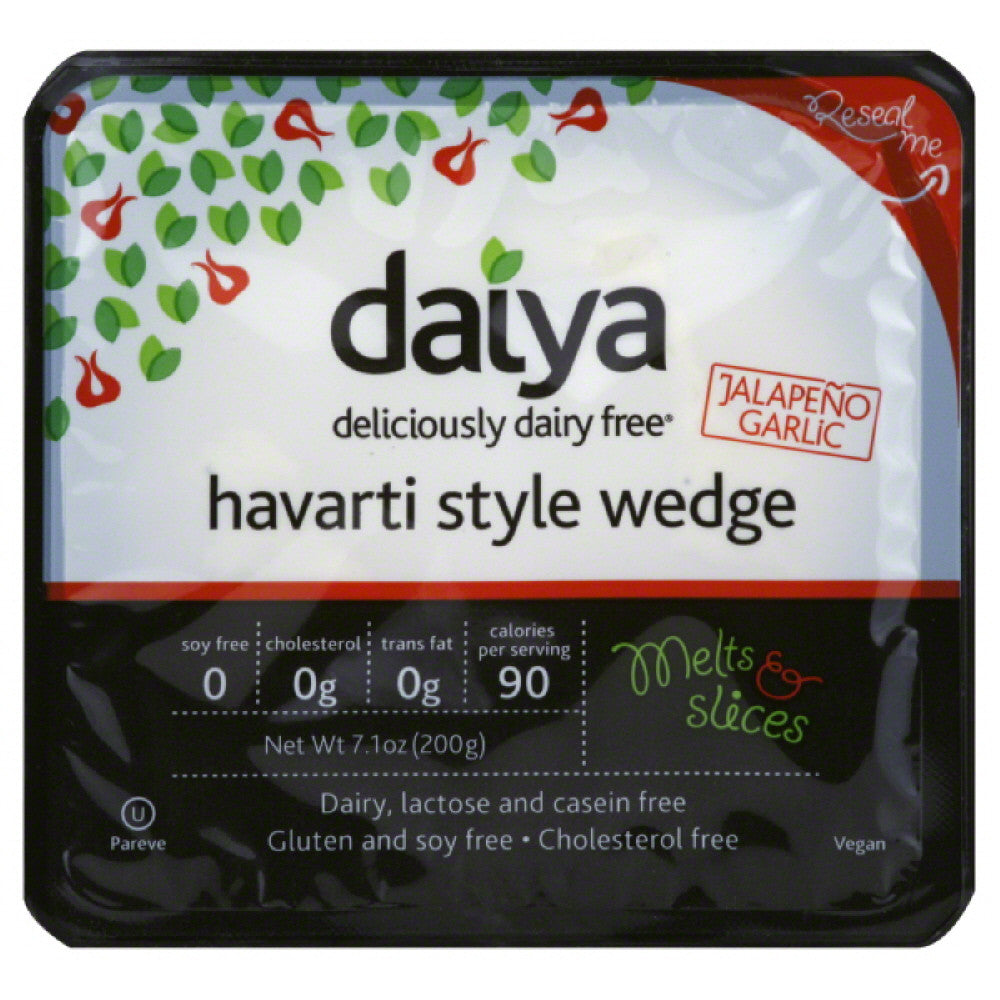 Daiya Jalapeno Garlic Deliciously Dairy Free Havarti Style Wedge, 7.1 Oz (Pack of 8)