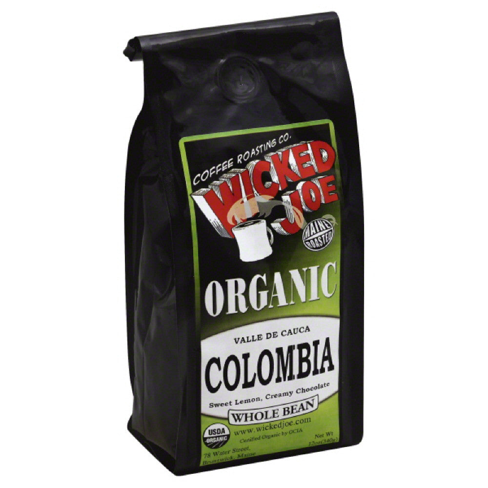 Wicked Joe Valle de Cauca Colombia Whole Bean Organic Coffee, 12 Oz (Pack of 6)