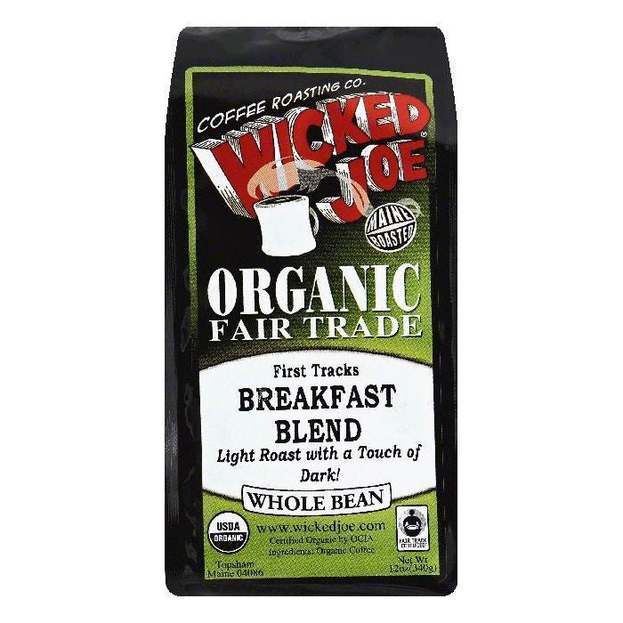 Wicked Joe First Tracks Breakfast Blend Light Roast Whole Bean Organic Coffee, 12 OZ (Pack of 6)