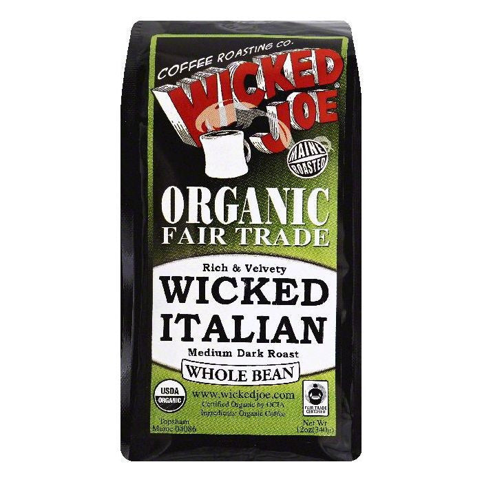 Wicked Joe Wicked Italian Medium Dark Roast Whole Bean Organic Coffee, 12 OZ (Pack of 6)