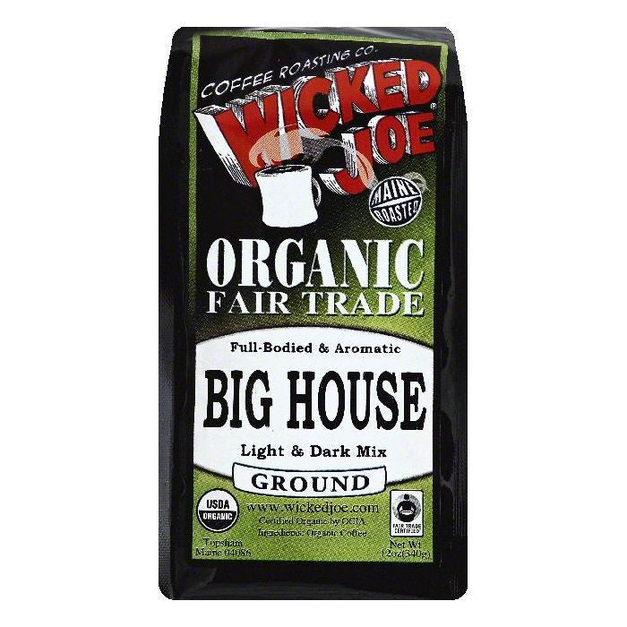 Wicked Joe Big House Light & Dark Roast Ground Organic Coffee, 12 OZ (Pack of 6)