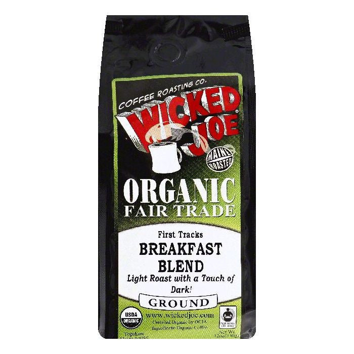 Wicked Joe First Tracks Breakfast Blend Light Roast with a Touch of Dark Ground Organic Coffee, 12 OZ (Pack of 6)