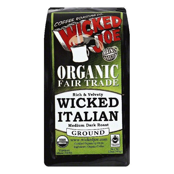 Wicked Joe Wicked Italian Medium Dark Roast Ground Organic Coffee, 12 OZ (Pack of 6)