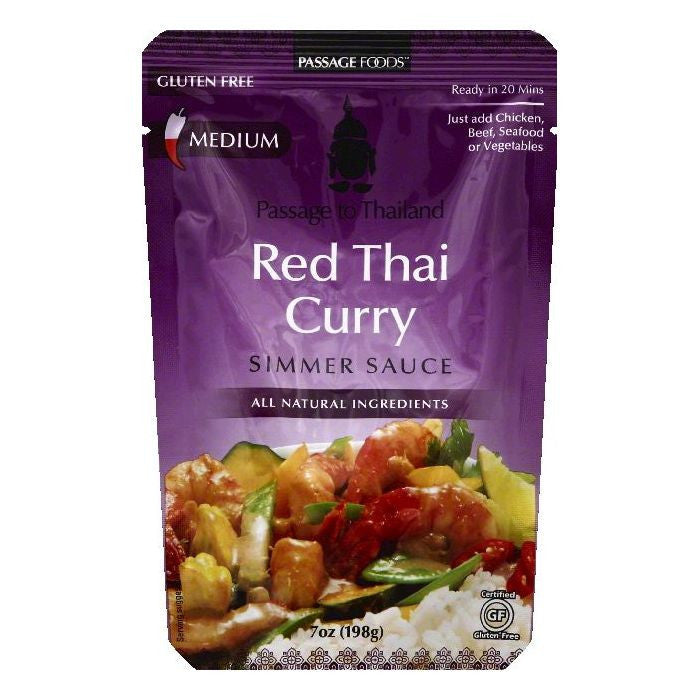 Passage Foods Medium Red Thai Curry Simmer Sauce, 7 OZ (Pack of 6)