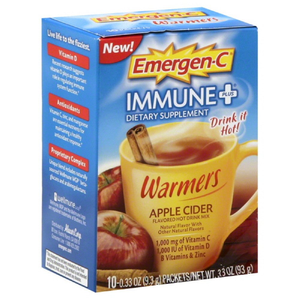 Emergen C Apple Cider Immune + Flavored Hot Drink Mix, 10 Pc