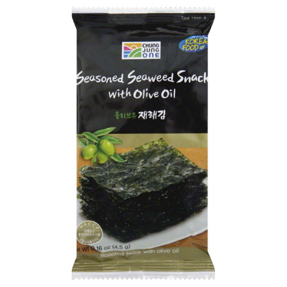 Chung Jung One Seasoned Seaweed Snack with Olive Oil, 0.16 Oz (Pack of 18)