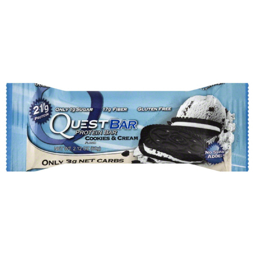 Quest Bar Cookies & Cream Flavor Protein Bar, 2.12 Oz (Pack of 12)