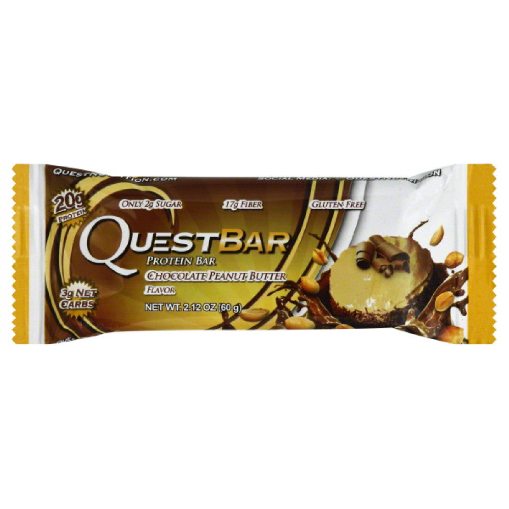 Quest Bar Chocolate Peanut Butter Flavor Protein Bar, 2.12 Oz (Pack of 12)