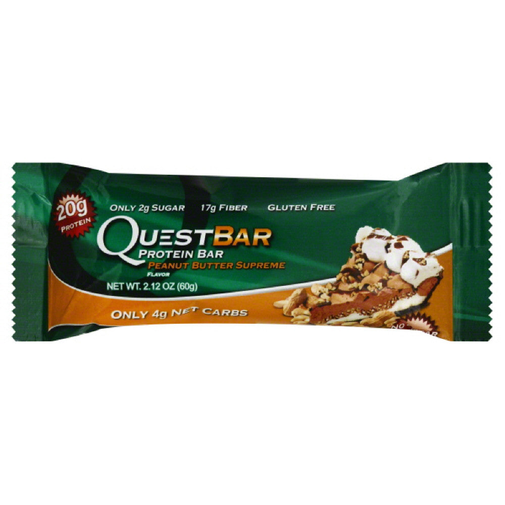 Quest Bar Peanut Butter Supreme Flavor Protein Bar, 2.12 Oz (Pack of 12)