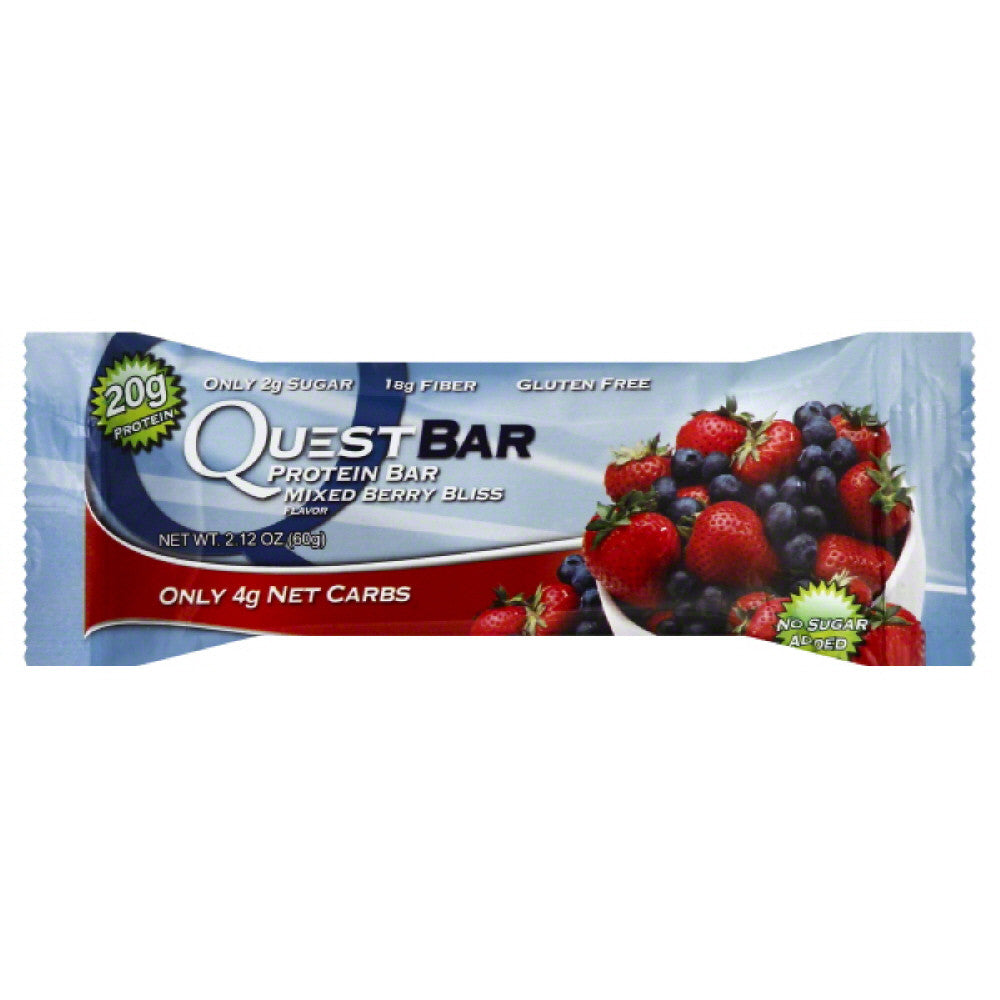 Quest Bar Mixed Berry Bliss Flavor Protein Bar, 2.12 Oz (Pack of 12)