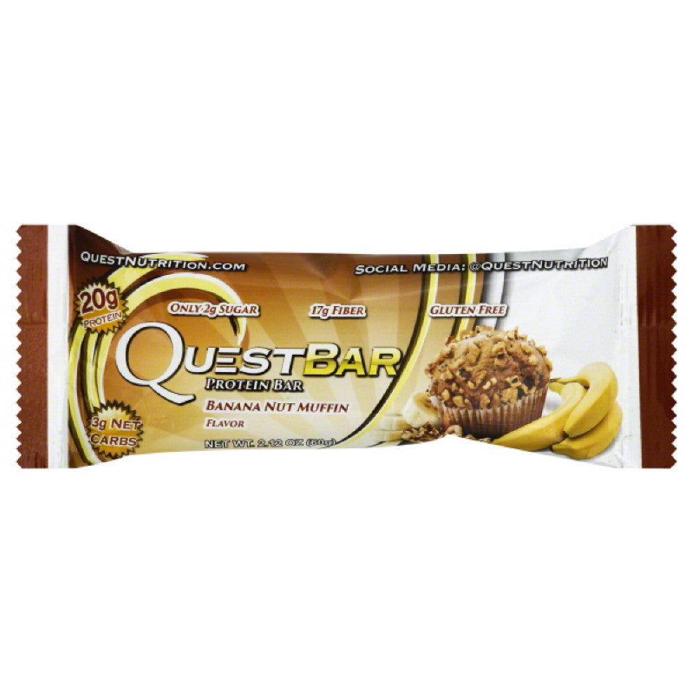 Quest Bar Banana Nut Muffin Flavor Protein Bar, 2.12 Oz (Pack of 12)