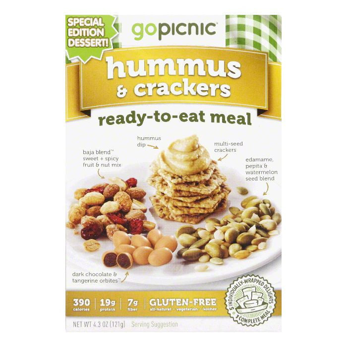 GoPicnic All Natural Gluten Free Hummus & Crackers Ready to Eat Meal, 4.4 OZ (Pack of 6)