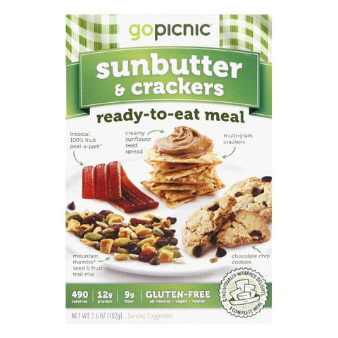 GoPicnic All Natural Gluten Free Sunbutter & Crackers Readu to Eat Meal, 3.5 OZ (Pack of 6)