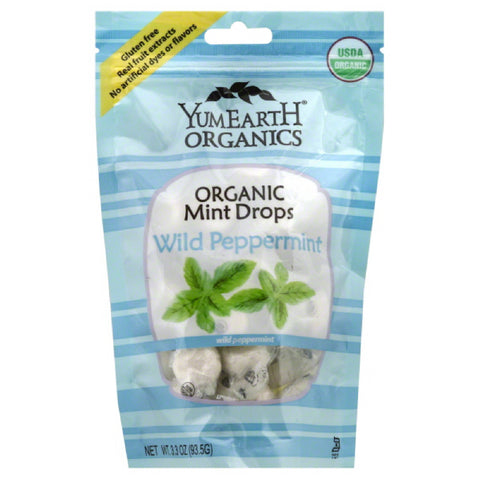 YumEarth Organic Wild Peppermint Mint Drops, 3.3 Oz (Pack of 6)