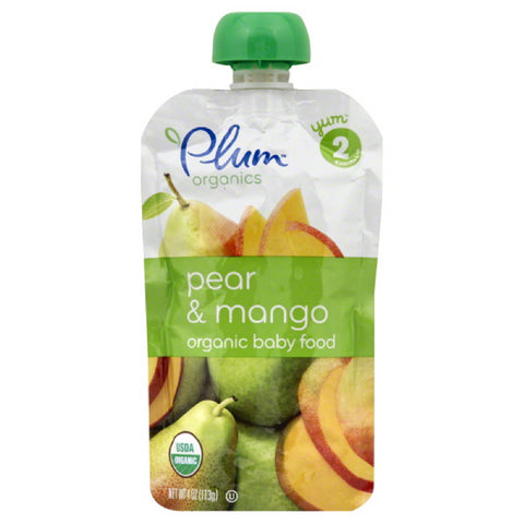 Plum 2 (6 Months & Up) Pear & Mango Organic Baby Food, 4 Oz (Pack of 6)