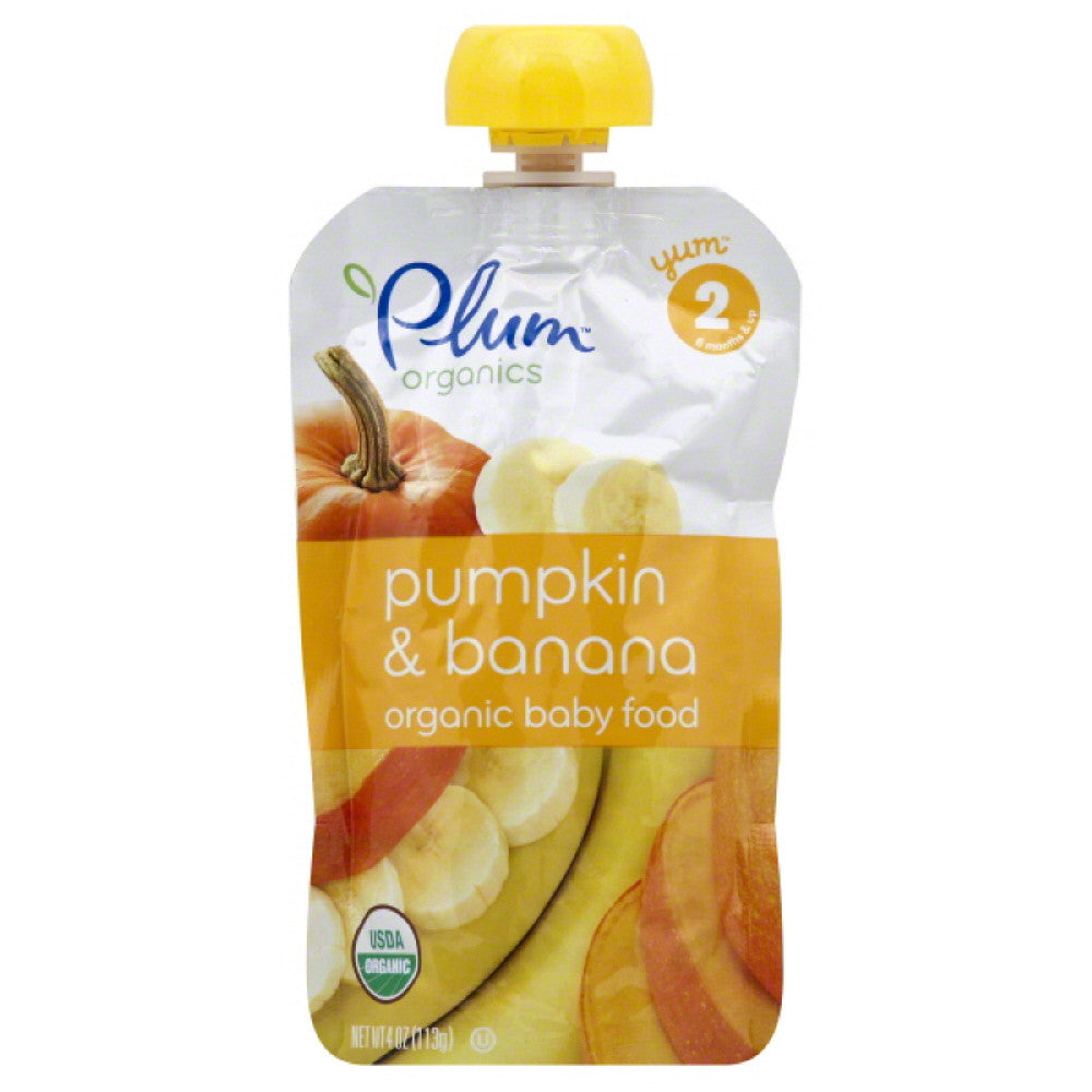 Plum 2 (6 Months & Up) Pumpkin & Banana Organic Baby Food, 4 Oz (Pack of 6)
